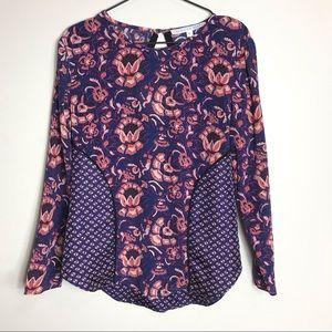 VERONICA BEARD- Silk Dark Floral Long Sleeve Top
